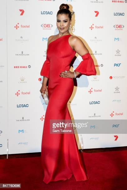 Pettifleur Berringer arrives ahead of the Red Ball Melbourne at Crown Palladium on September 16 2017 in Melbourne Australia
