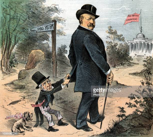 A petty annoyance' Illustration shows President Cleveland walking down a path toward a building flying a banner labelled 'NonPartisan Government' a...