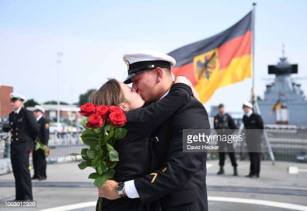 Navy officers aboard the Bundeswehr Navy frigate 'Hessen' upon its return to port on July 21 2018 in Wilhelmshaven Germany The 'Hessen' is returning...