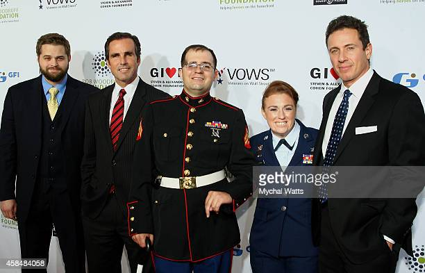 Petty Officer Marshall Peters Bob Woodruff Steven Schulz Amanda Martino and Chris Cuomo attend the 2014 Stand Up For Heroes at Madison Square Garden...