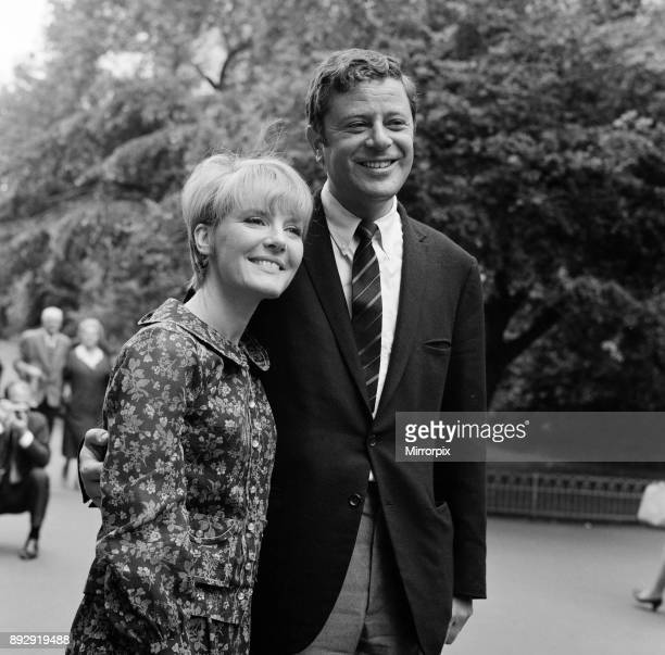 Petula Clark and husband Claude Wolff at Embankment Gardens, Victoria. She is in London to open in the Savoy Caberet Show, 6th June 1966.