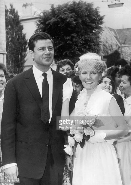 Petula CLARK leaving town hall after having married Claude WOLFF a 30 year old French advertising man in BOURGLAREINE on June 8 1961