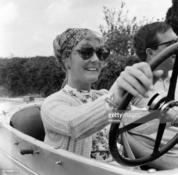 Petula Clark on the set of 'Goodbye Mr Chips' in Dorset at the wheel of the 1924 12/50 Alvis which she drives in the film 19th July 1968
