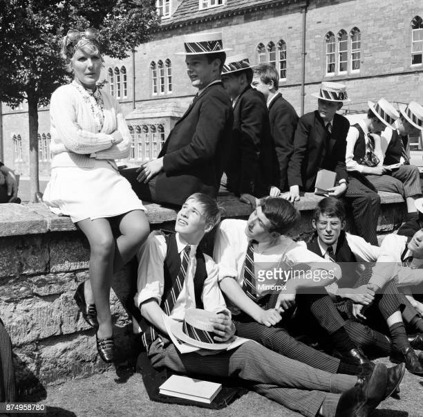 Petula Clark on the set of 'Goodbye Mr Chips' in Dorset Petula ready for her flight home to France waits in the quad of Sherborne School with some of...