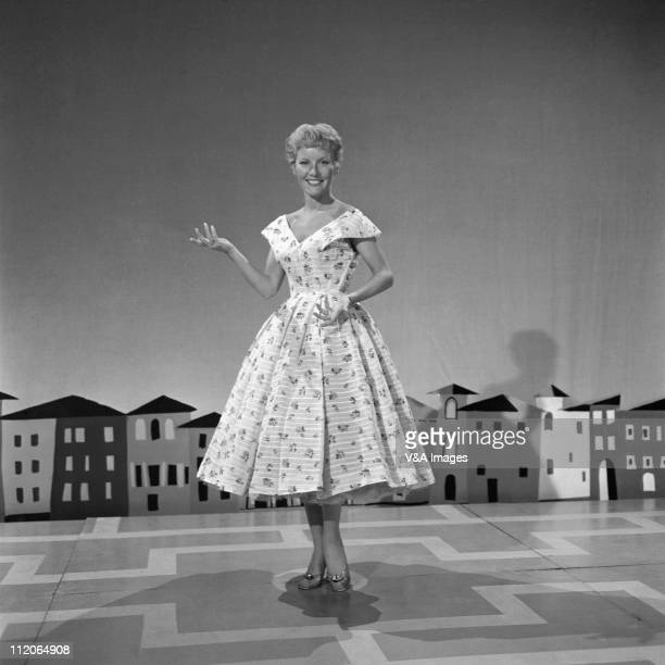 Petula Clark, performs on stage on TV show, 1960.