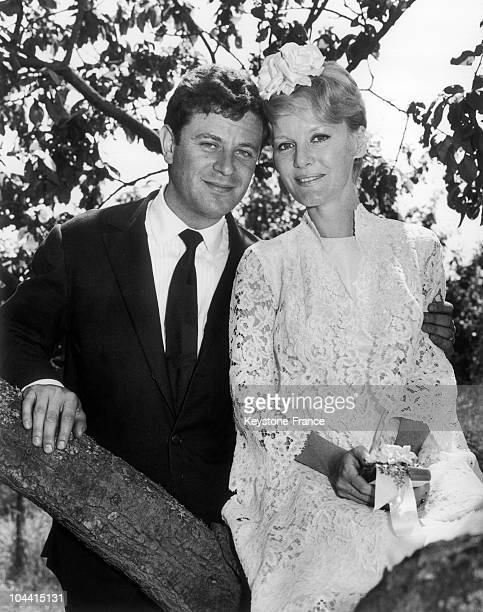 Petula CLARK pictured with her second husband, Claude WOLFF, a 30 year old French advertising man, in a wedding dress at the village of LODSWORTH in...