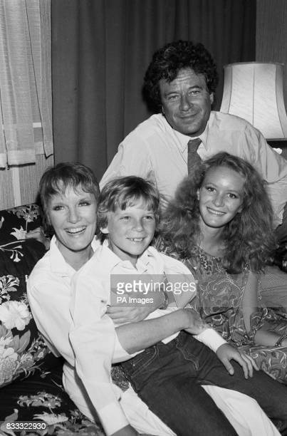 Petula Clark with her family backstage after playing Maria Von Trapp in the stage production of 'The Sound of Music' which opened at the Victoria...