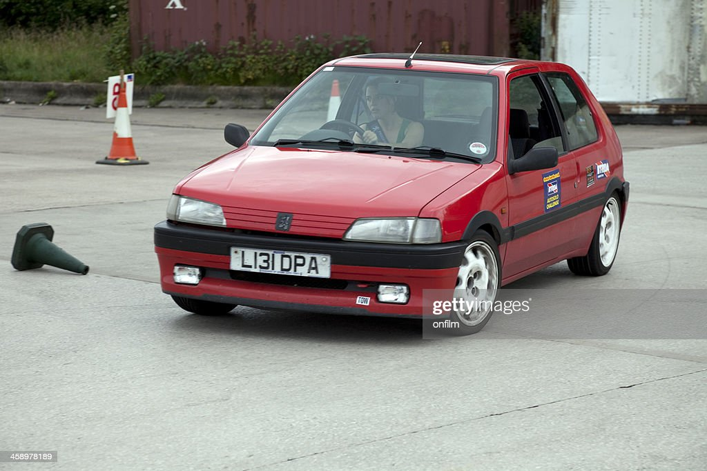Peugeot 106 at autocross rally event : Stock Photo