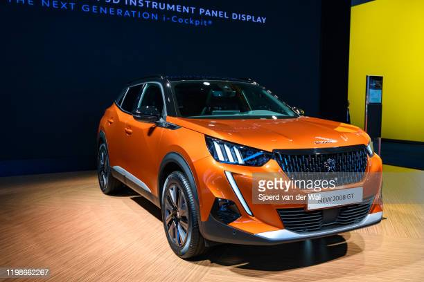Peugeot 2008 compact SUV car on display at Brussels Expo on JANUARY 09 2020 in Brussels Belgium The New 2008 is available with various petrol and...