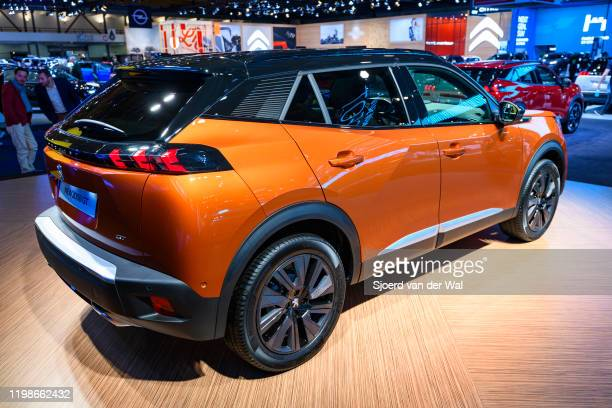 Peugeot 2008 compact SUV car on display at Brussels Expo on JANUARY 09, 2020 in Brussels, Belgium. The New 2008 is available with various petrol and...