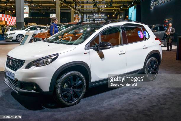 Peugeot 2008 GT compact crossover SUV car on display at Brussels Expo on January 13, 2017 in Brussels, Belgium. The revised version of the 2008 is...