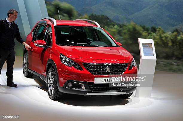 Peugeot 2008 is displayed during the Geneva Motor Show 2016 on March 2 2016 in Geneva Switzerland