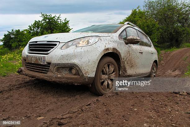 Peugeot 2008 on the muddy road