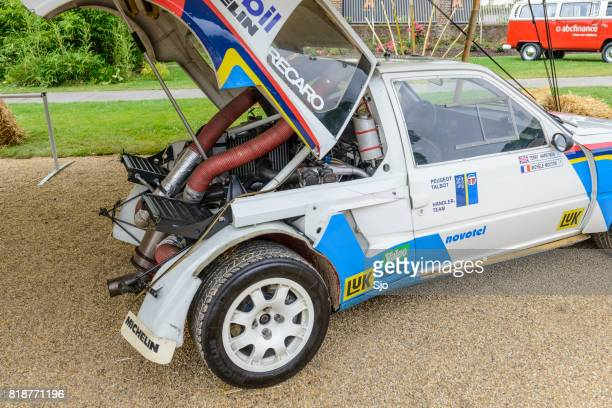 peugeot 205 t16 group b rally car engine - rally car stock photos and pictures