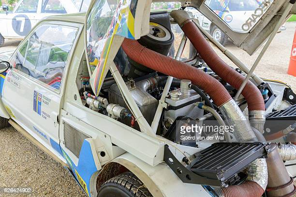 peugeot 205 t16 group b rally car - rally car stock photos and pictures