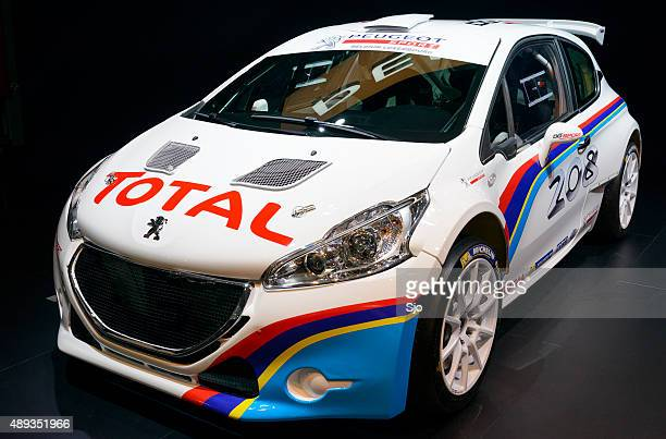 peugeot 208 t16 rally car front view - rally car stock photos and pictures