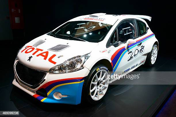 peugeot 208 t16 rally car - rally car stock photos and pictures