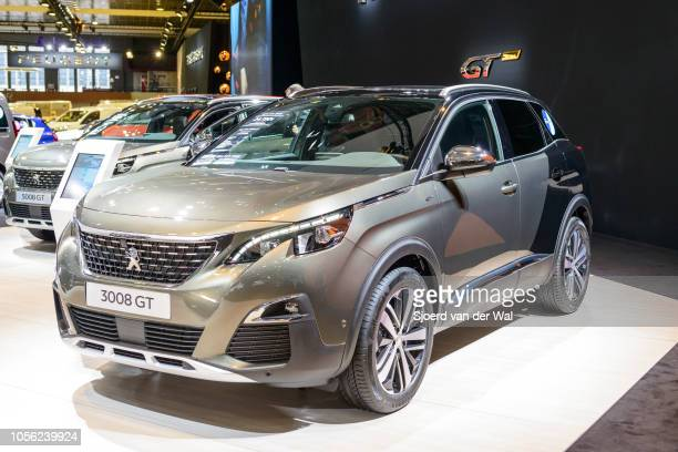 Peugeot 3008 GT luxury crossover SUV car on display at Brussels Expo on January 13, 2017 in Brussels, Belgium. The second generation of the 3008 or...