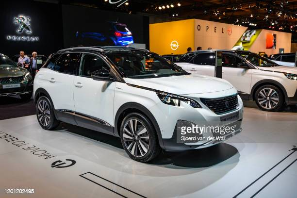Peugeot 3008 Hybrid 4 GT compact crossover plugin hybrid SUV SUV car on display at Brussels Expo on January 9 2020 in Brussels Belgium The 3008 is...