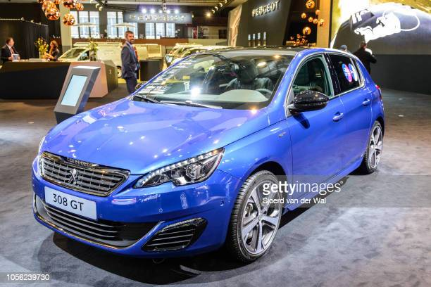 Peugeot 308 GTline compact 5door hatchback car on display at Brussels Expo on January 13 2017 in Brussels Belgium The Peugeot 308 of the second...