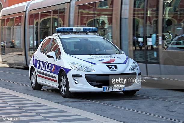 Peugeot 308 police car in motion