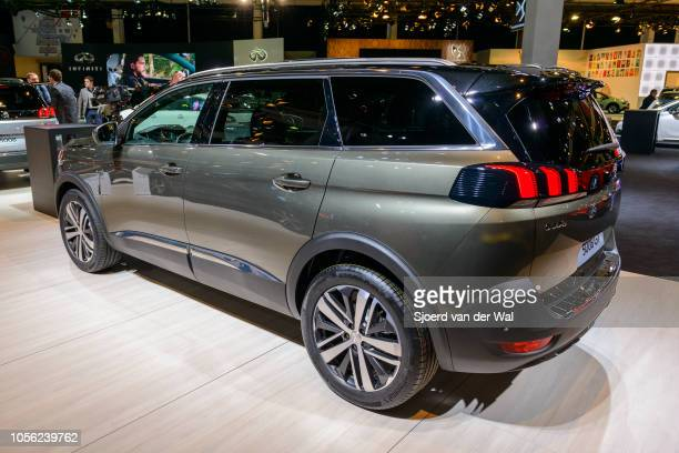 Peugeot 5008 GT luxury crossover SUV car on display at Brussels Expo on January 13, 2017 in Brussels, Belgium. The second generation of the 5008 or...
