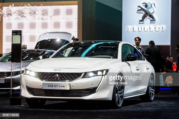 Peugeot 508 GT line is displayed at the 88th Geneva International Motor Show on March 6 2018 in Geneva Switzerland Global automakers are converging...