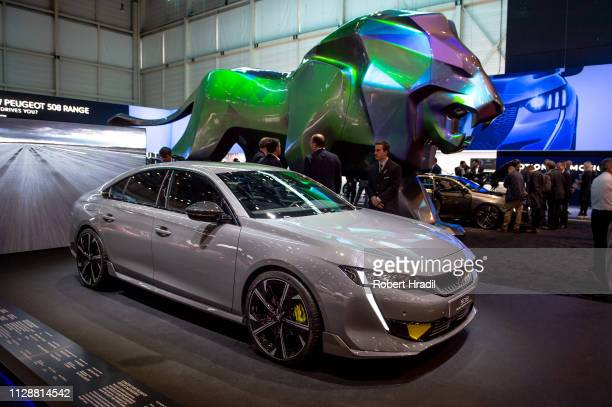 Peugeot 508 is displayed during the second press day at the 89th Geneva International Motor Show on March 5 2019 in Geneva Switzerland