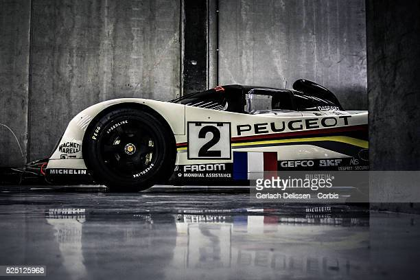 Peugeot 905 historic Le Mans racer posing in the pitbox during SpaCLassic May 25th 2013 at SpaFrancorchamps Circuit in Belgium