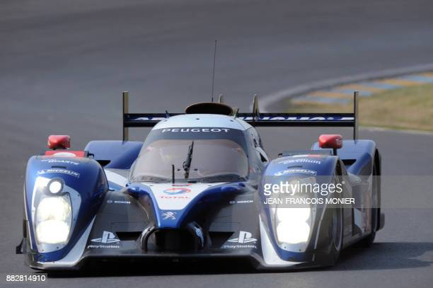 Peugeot 908 N° 9 driven by Austrian Alex Wurz French Stephane Bourdais and French Jean Karl Verney competes during the Test Day of the 79th edition...