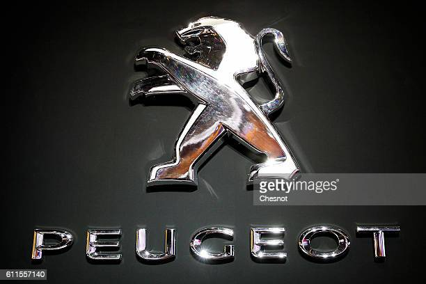 Peugeot automaker's logo is displayed during the second press day of the Paris Motor Show on September 30 in Paris France The Paris Motor Show will...
