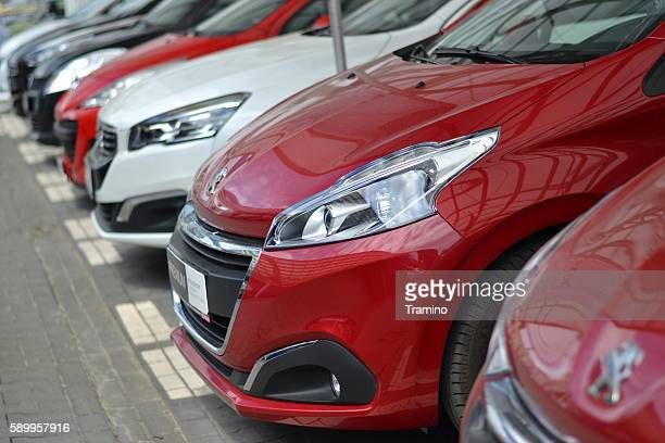 peugeot cars on the parking - psa stock photos and pictures