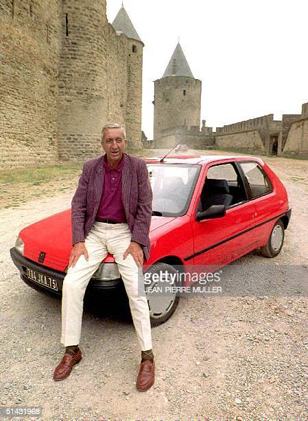 Peugeot chairman Jacques Calvet presents the Peugeot 106 to reporters in a 07 September 1991 file photo in Carcassonne France