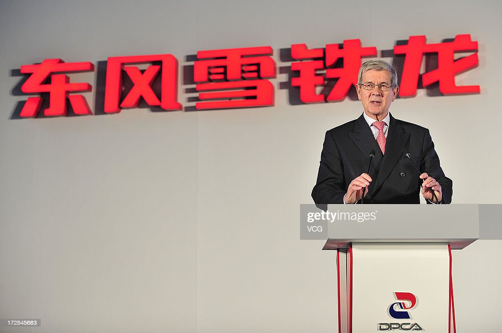 PSA Peugeot Citroen Chairman Philippe Varin speaks during the opening ceremony of the third plant of Dongfeng Peugeot Citroen Automobile Co., Ltd (DPCA) on July 2, 2013 in Wuhan, China. The third plant of DPCA, a joint venture between the French automaker PSA Peugeot Citroen and the Chinese automaker Dongfeng Motor Corp., was put into operation on July 2, with initial capacity of 150,000 cars a year.