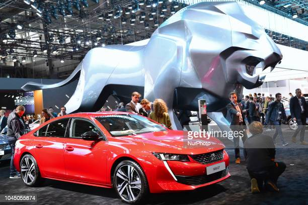Peugeot displayed its new car and new technologies at during the Paris Motor Show at Parc des Expositions Porte de Versailles on October 2 2018 in...