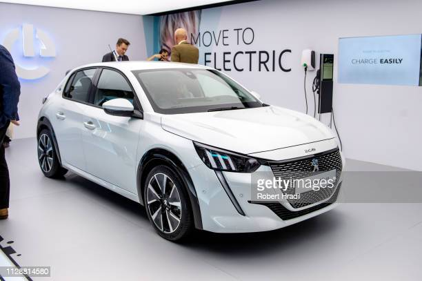 Peugeot e208 Allure is displayed during the second press day at the 89th Geneva International Motor Show on March 5 2019 in Geneva Switzerland