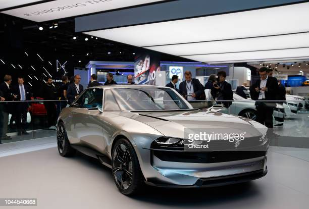 Peugeot eLegend concept car is on display during the first press day of the Paris Motor Show at the Parc des Expositions at the Porte de Versailles...