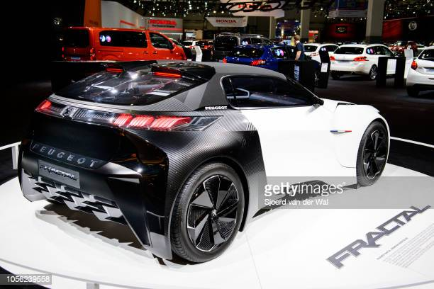 Peugeot Fractal allelectric compact 22 coupe concept car on display at Brussels Expo on January 13 2017 in Brussels Belgium The Peugeot Fractal is...
