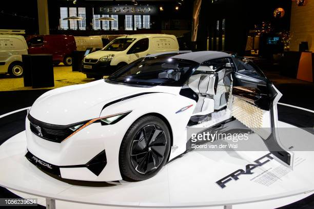 Peugeot Fractal all-electric, compact 2+2 coupe concept car on display at Brussels Expo on January 13, 2017 in Brussels, Belgium. The Peugeot Fractal...