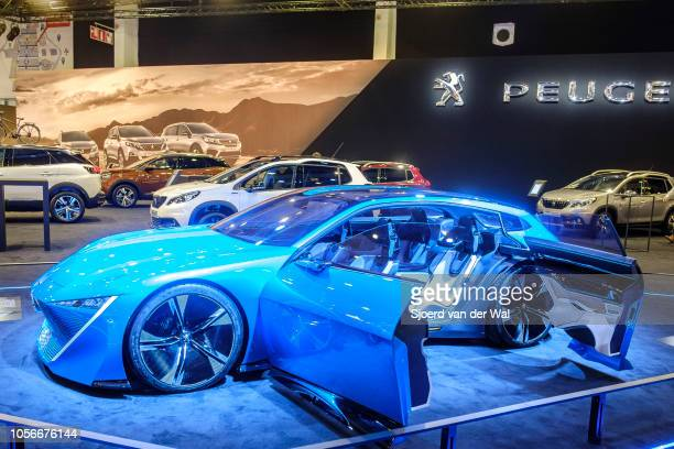 Peugeot Instinct concept car selfdriving vehicle on display at Brussels Expo on January 10 2018 in Brussels Belgium The Peugeot Instinct is a...