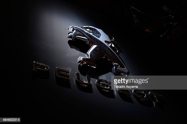 Peugeot logo is displayed at the media preview ahead of The 44th Tokyo Motor Show 2015 at Tokyo Big Sight on October 28 2015 in Tokyo Japan The Tokyo...