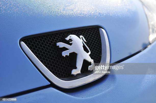Peugeot logo radiator badge is pictured on October 4 2015 in Southend on Sea England