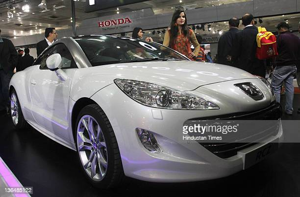 Peugeot Motors displays concept RCZ Sports Coupe during the 11th Auto Expo 2012 at Pragati Maidan on January 5 2012 in New Delhi India The European...