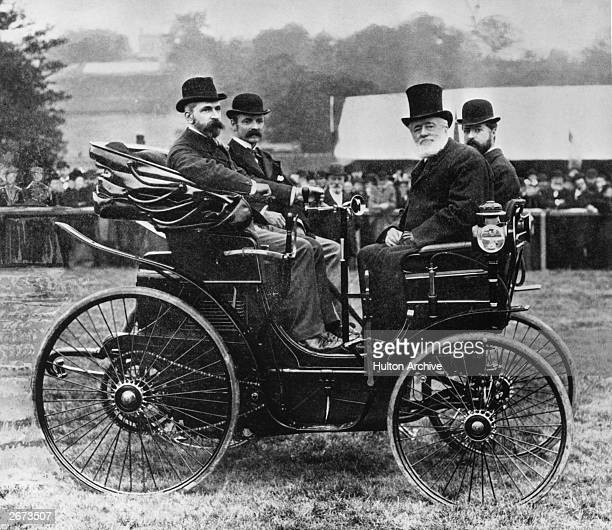 A Peugeot 'Vis a Vis' car powered by a Daimler petrol engine at the Exhibition of Horseless Vehicles at Tunbridge Wells Kent The car was exhibited by...