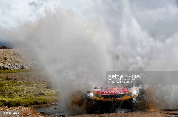 TOPSHOT Peugeot's driver Stephane Peterhansel and his codriver Jean Paul Cottret of France compete during 2018 Dakar Rally Stage 6 between Arequipa...