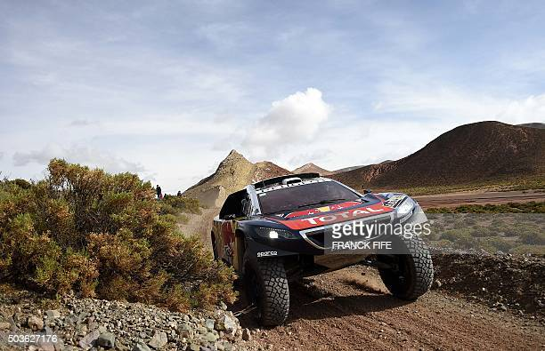 Peugeot's French driver Sebastien Loeb and codriver Daniel Elena from Monaco compete during the Stage 4 of the Dakar 2016 around Jujuy in Argentina...