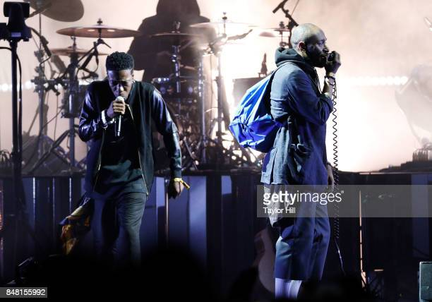 Peven Everett and Mos Def with Gorillaz onstage during Day 2 at The Meadows Music Arts Festival at Citi Field on September 16 2017 in New York City