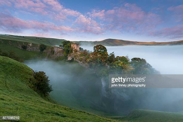 Peveril Castle, Autumn sunrise, Castleton, English Peak District. UK. Europe.