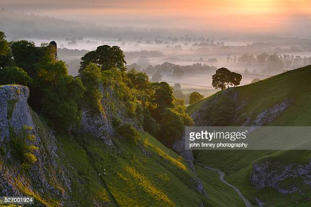 Peveril Castle, Summer sunrise, Castleton, English Peak District. UK. Europe.