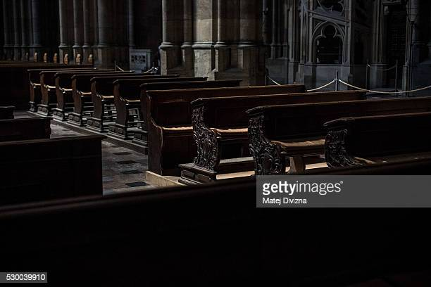 Pews are placed in the St Vitus Cathedral on May 9 2016 in Prague Czech Republic Ruler Charles IV began the construction of the St Vitus Cathedral in...